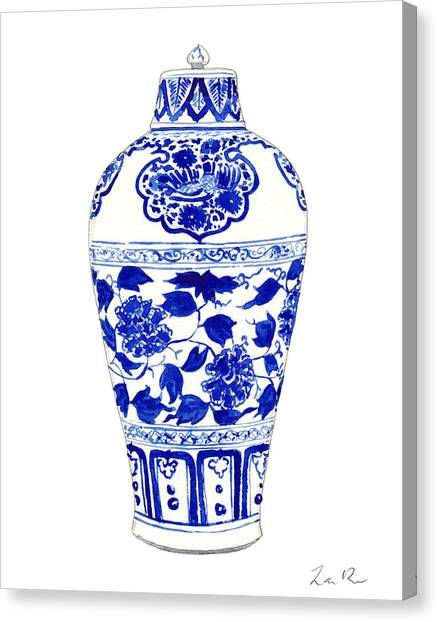 Peony Canvas Print - Blue And White Ginger Jar Chinoiserie Jar 1 by Laura Row