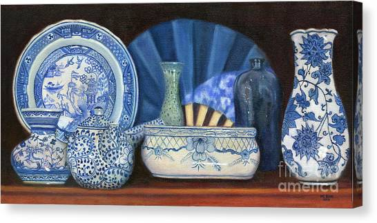 Blue And White Porcelain Ware Canvas Print