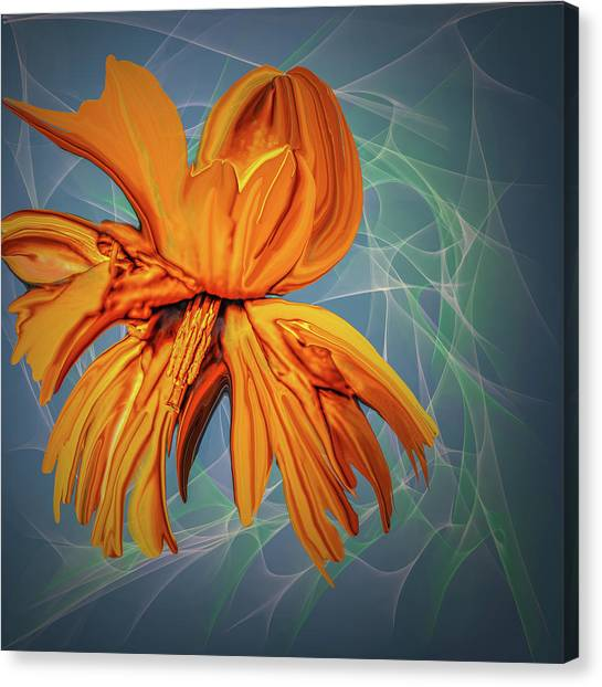 Canvas Print featuring the digital art Blue And Yellow #h6 by Leif Sohlman