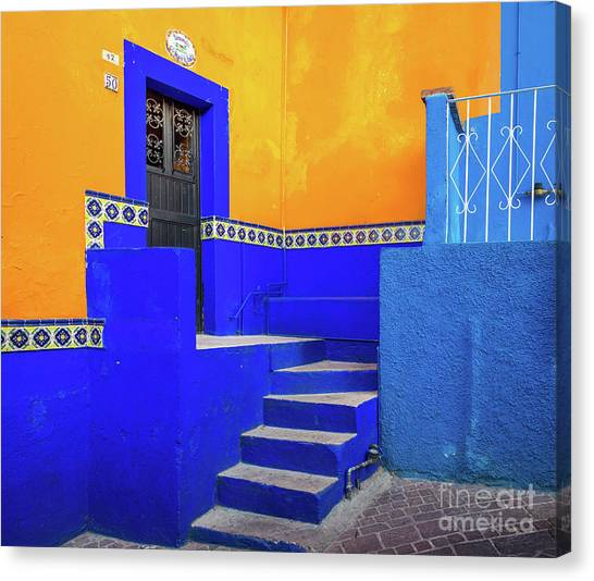 Guanajuato Canvas Print - Blue And Yellow House by Inge Johnsson