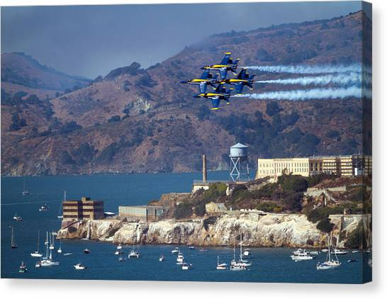 Blue Angels Over Alcatraz Canvas Print