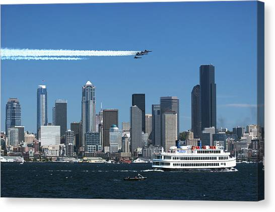Blue Angels Over Seattle D028 Canvas Print by Yoshiki Nakamura