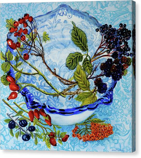 Wild Berries Canvas Print - Blue Antique Bowl With Berries by Joan Thewsey