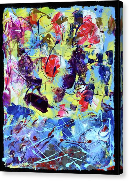 Lyrical Abstraction Canvas Print - Blue by Mariza