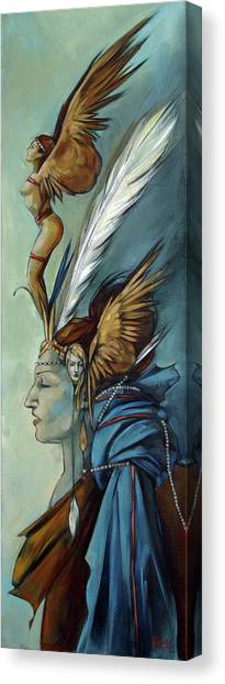 Blue Art Deco Indian Headdress Hood Ornamental Canvas Print