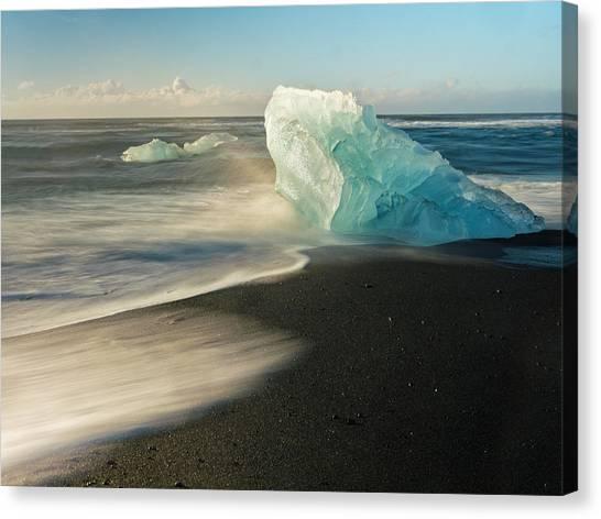 Vatnajokull Glacier Canvas Print - Blue Beach by Dan Leffel