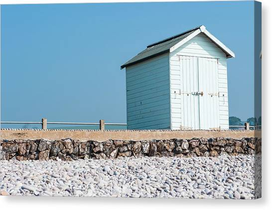Blue Beach Hut Canvas Print