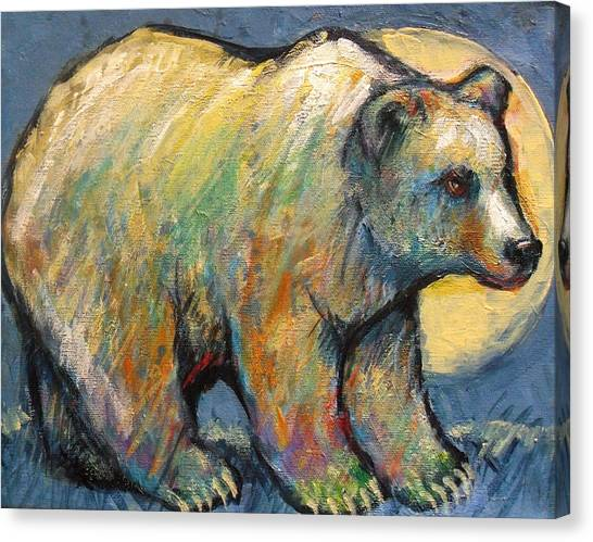 Blue Bear Grizzly Bear In A Full Moon Canvas Print