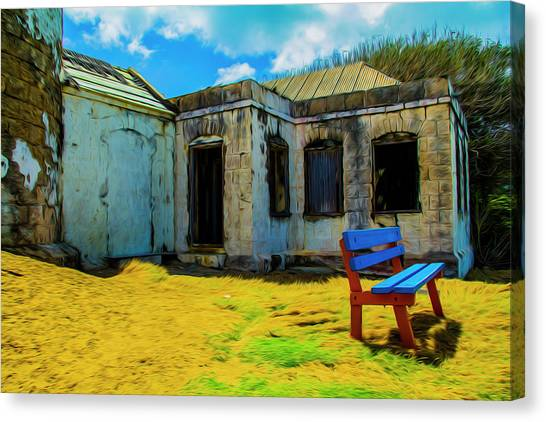 Blue Bench Canvas Print