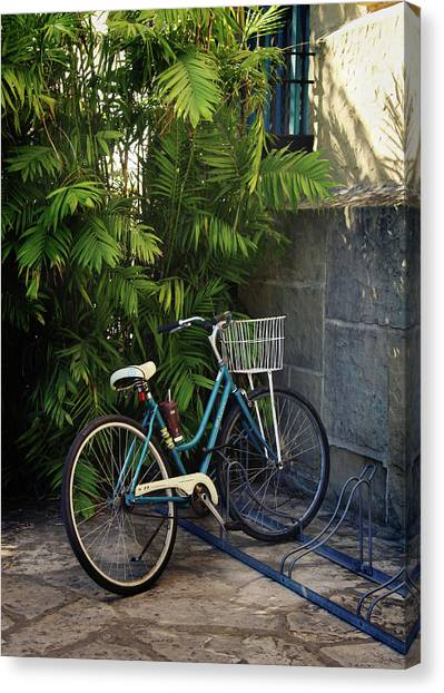 Cyclist Canvas Print - Blue Bike-  By Linda Woods by Linda Woods