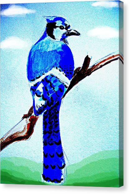 Blue Bird Canvas Print by Alfredo Lozano