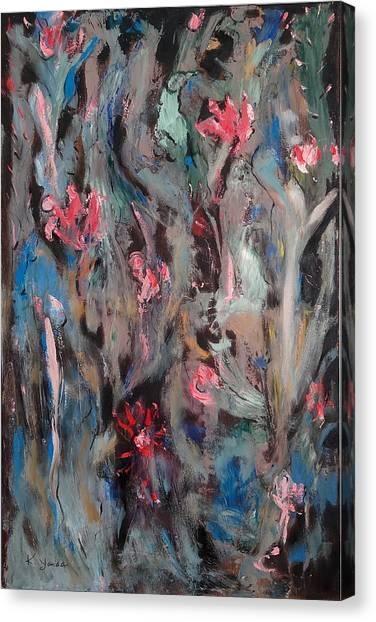 Blue Bird In Flower Garden Canvas Print