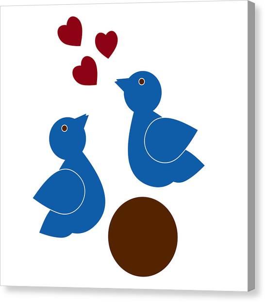 Lovebirds Canvas Print - Blue Birds by Frank Tschakert