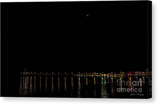 Blue Blood Moon 2018 Ventura, California Pier Canvas Print
