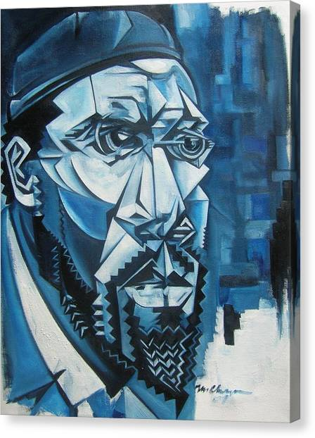 Blue Blue Monk Canvas Print by Martel Chapman