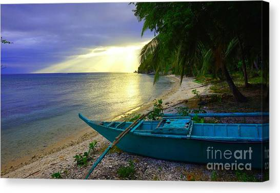 Blue Boat And Sunset On Beach Canvas Print