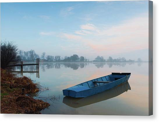 Canvas Print featuring the photograph Blue Boat by Davor Zerjav