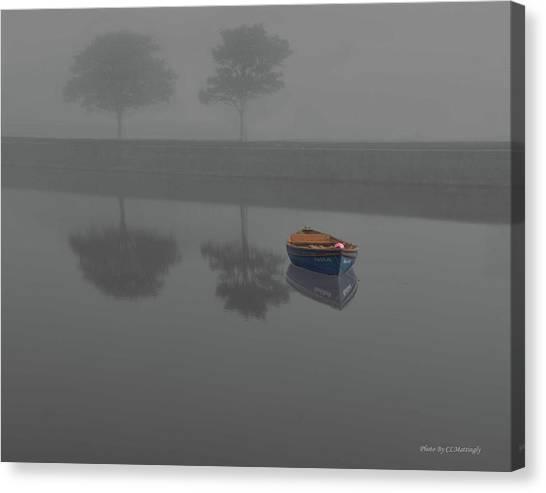 Blue Boat In Fog Canvas Print
