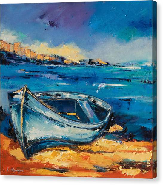 Fauvism Canvas Print - Blue Boat On The Mediterranean Beach by Elise Palmigiani
