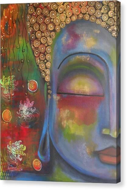 Buddha In Blue Meditating  Canvas Print