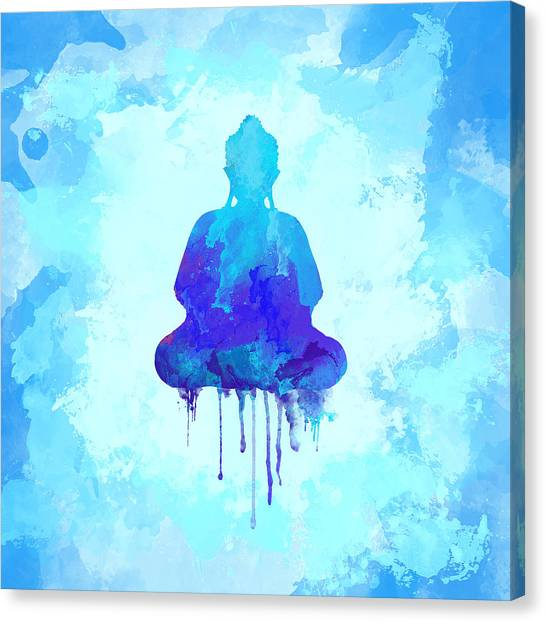 Om Canvas Print - Blue Buddha Watercolor Painting by Thubakabra