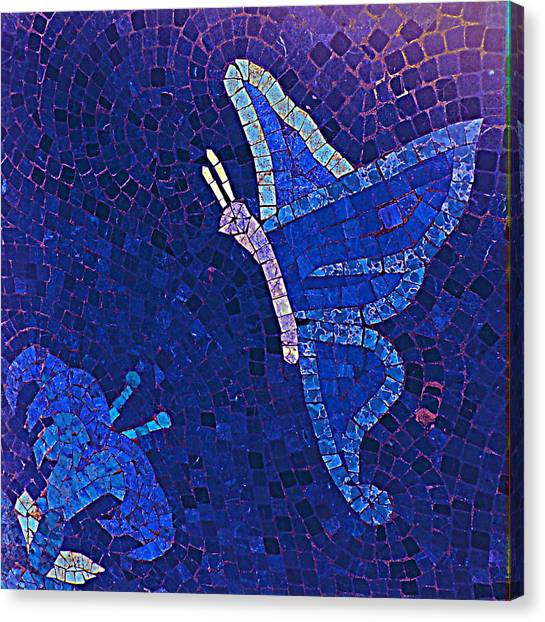 Blue Butterfly And Flower Canvas Print