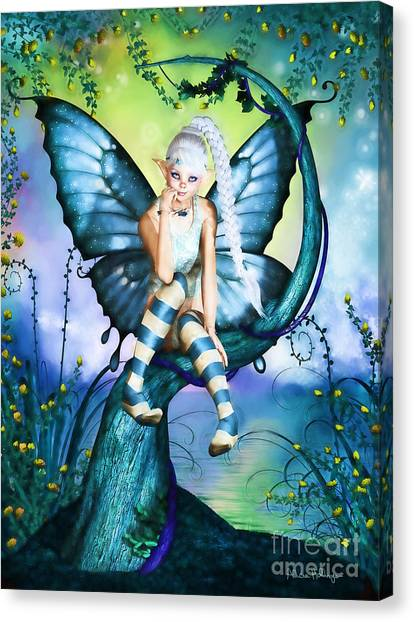 Blue Butterfly Fairy In A Tree Canvas Print