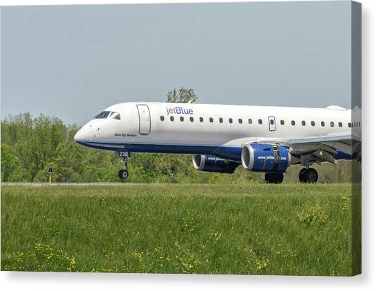 Jetblue Canvas Print - Blue By Design by Guy Whiteley
