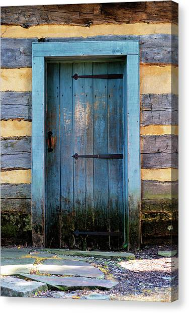 University Of Pittsburgh Canvas Print - Blue Cabin Door by Stephen Stookey