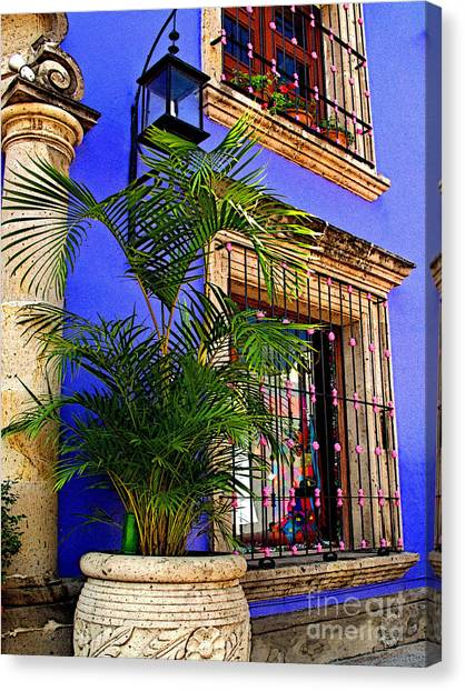 Blue Casa With Fern Canvas Print by Mexicolors Art Photography