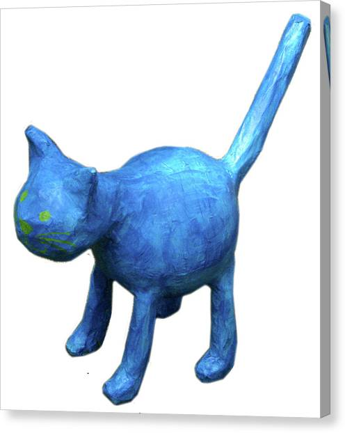 Blue Cat Canvas Print by Maria Rosa