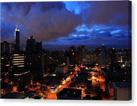 Blue City Canvas Print by Angie Wingerd