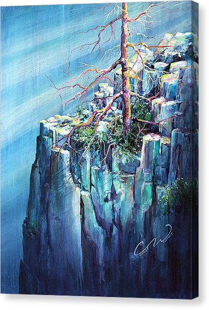Blue Clff And Tree Canvas Print