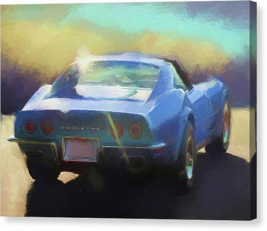 Blue Corvette Canvas Print