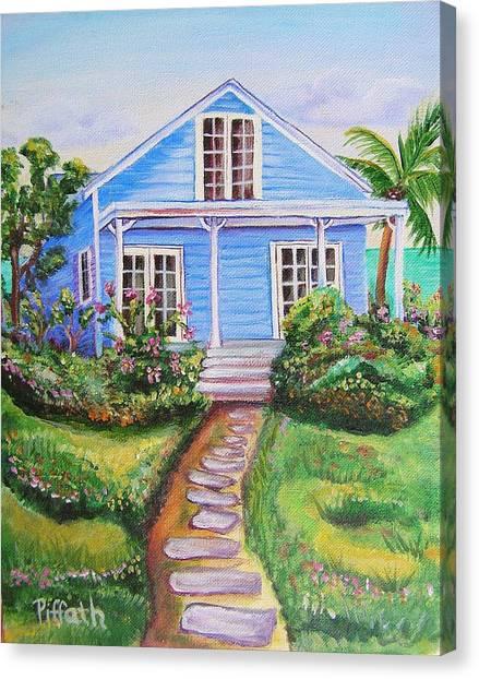 Blue Cottage Canvas Print