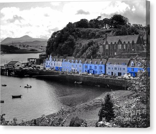 Blue Cottages At Portree Harbour 5 Canvas Print