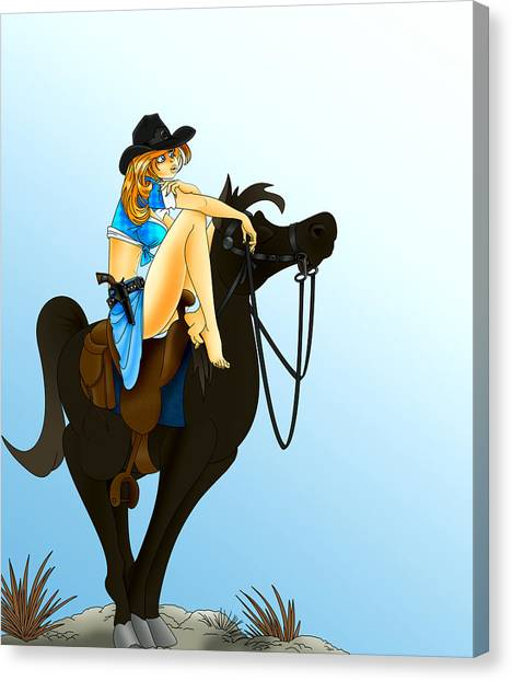 Blue Cowgirl Canvas Print