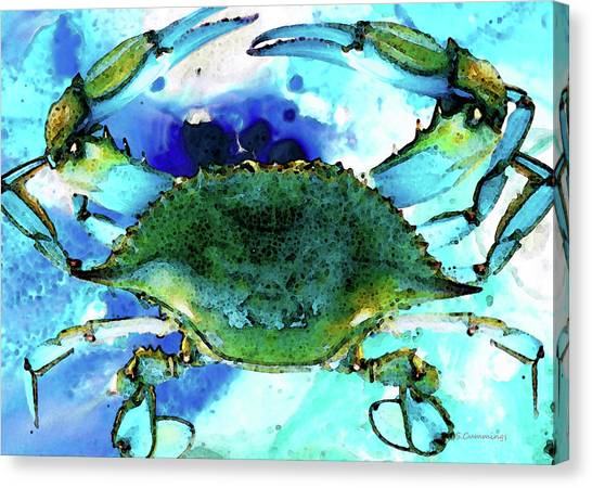 Ocean Animals Canvas Print - Blue Crab - Abstract Seafood Painting by Sharon Cummings