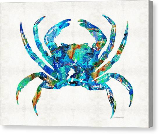 Seafood Canvas Print - Blue Crab Art By Sharon Cummings by Sharon Cummings