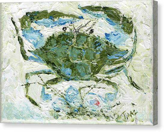 Blue Crab Knife Painting Canvas Print