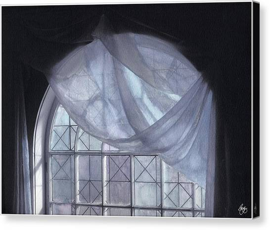 Hand-painted Blue Curtain In An Arch Window Canvas Print