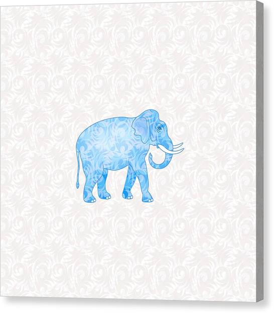 Elephants Canvas Print - Blue Damask Elephant by Antique Images