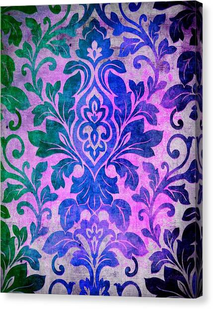 Blue Damask Pattern Canvas Print