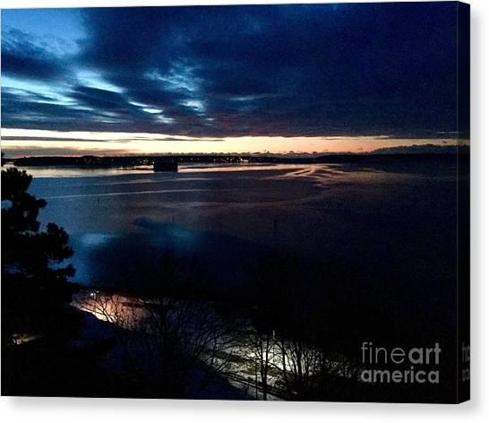 Blue Dawn On Casco Bay Canvas Print