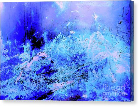 Blue Digital Artwork With Dots And Stripes And Sandstone Finish Canvas Print