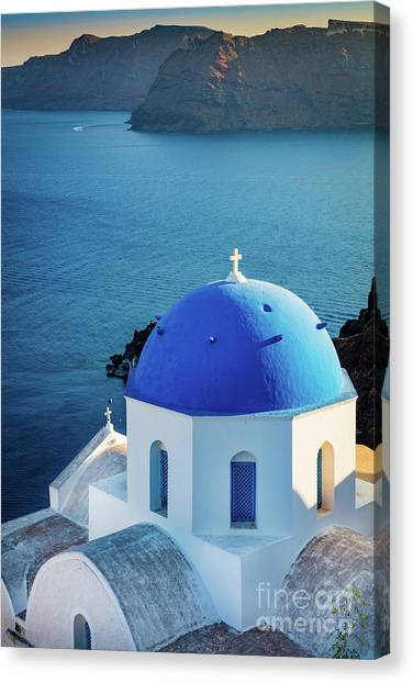 Greece Canvas Print - Blue Dome by Inge Johnsson