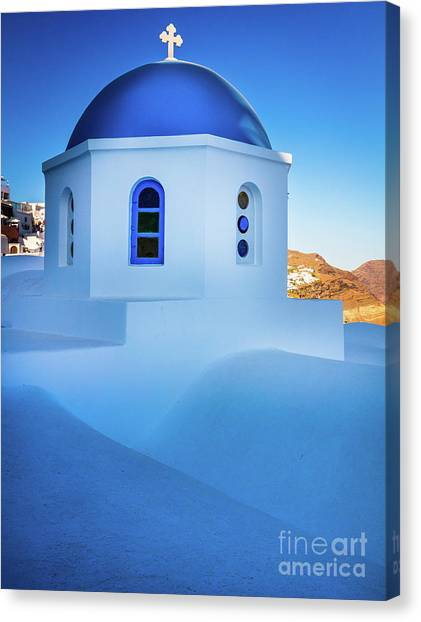 Greece Canvas Print - Blue Domed Chapel by Inge Johnsson