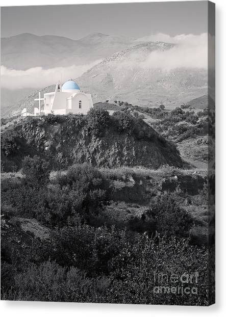 Blue-domed Church In The Mountains Canvas Print by Royce Howland