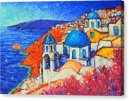 Blue Domes In Oia Santorini Greece Original Impasto Palette Knife Oil Painting By Ana Maria Edulescu Canvas Print