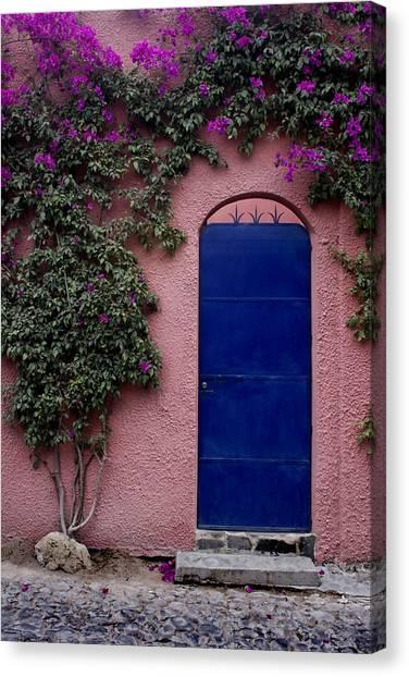 San Miguel De Allende Canvas Print - Blue Door And Bougainvilleas by Carol Leigh